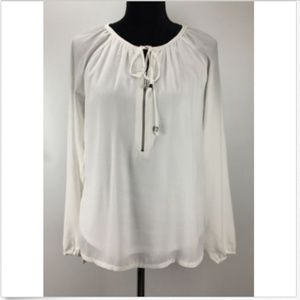 Michael Kors Top Blouse Sz 4 Long Sleeve Neck Tie